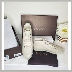Gucci High Top Sneakers in White Size 8